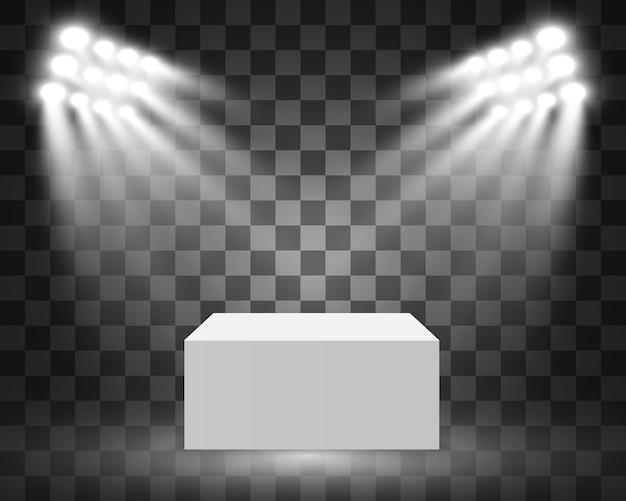 Vitrine En Verre Pour L'exposition Sous Forme De Cube. Fond à Vendre éclairé Par Des Projecteurs. Publicité De Boîte De Verre De Musée Ou Boutique Commerciale. Salle D'exposition. Vecteur Premium
