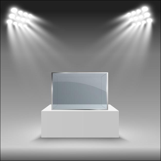 Vitrine En Verre Pour L'exposition Sous Forme De Cube. Vecteur Premium