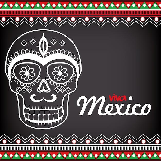 Viva mexico affiche célébration vecteur illustration design Vecteur Premium