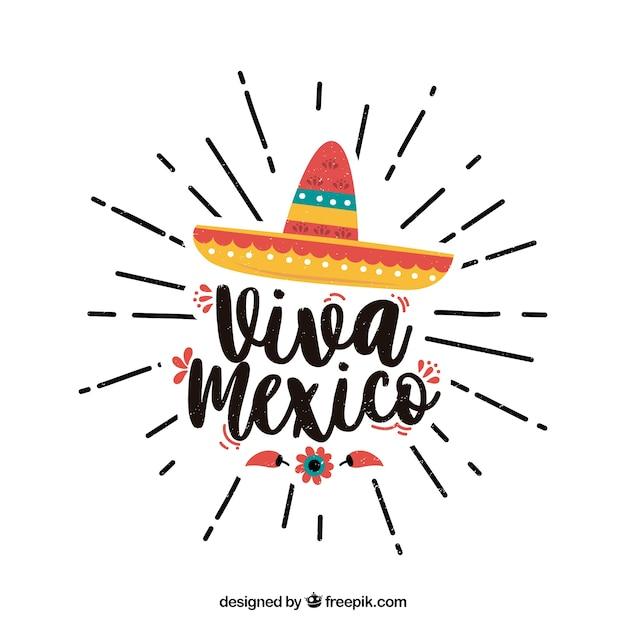 Viva mexico lettrage de fond avec un chapeau Vecteur gratuit