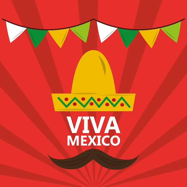 Viva Mexique Chapeau Moustache Fanion Fond Rouge Vecteur Premium