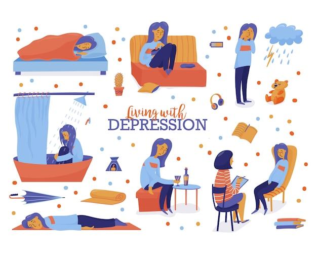 Vivre avec la dépression Vecteur Premium