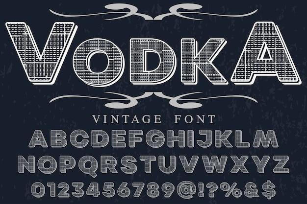 Vodka de conception d'étiquette alphabet effet ombre Vecteur Premium