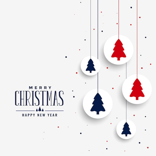 Voeux De Noël Blanc Avec Arbre Vecteur gratuit