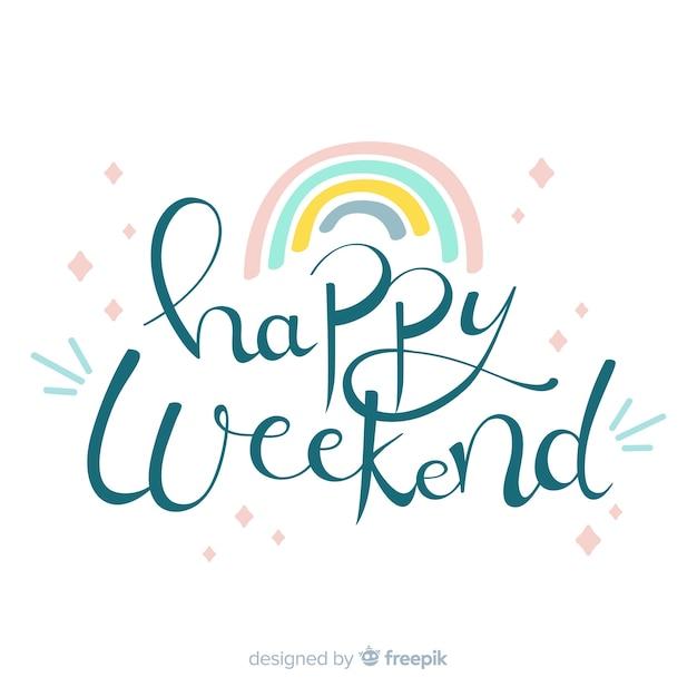 Voeux de week-end arc-en-ciel de couleur pastel Vecteur gratuit