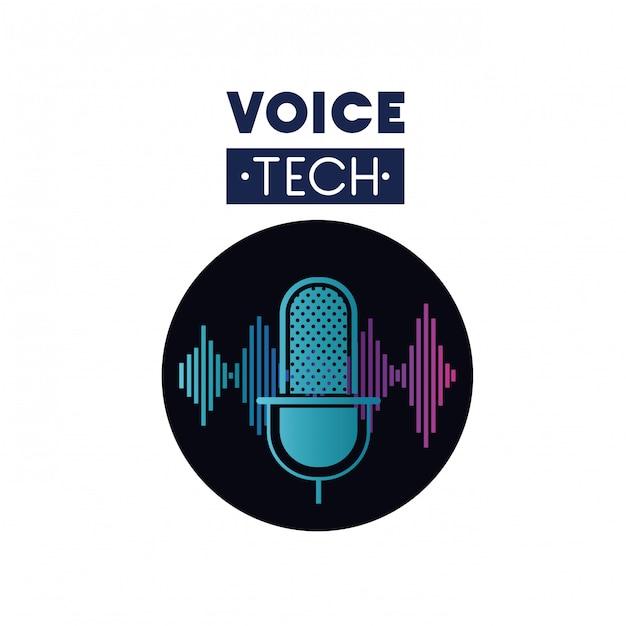 Voice Label Avec Microphone Et Onde Sonore Vecteur Premium