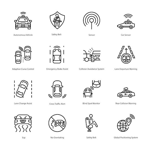 Voici un ensemble d'icônes de lignes de conduite de voitures, contenant des éléments visuels saisissants d'icônes de conduite de voitures que vous pouvez facilement modifier et utiliser pour répondre à vos besoins en matière de projet. Vecteur Premium