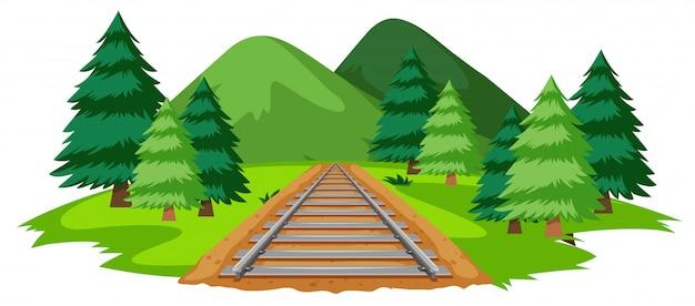 Une voie ferrée dans la nature Vecteur gratuit