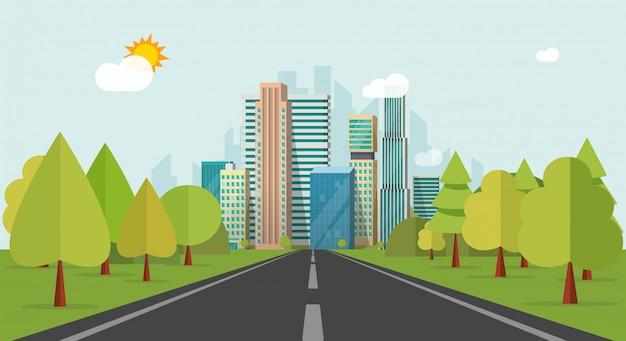 Voie routière ou autoroute aux bâtiments de la ville sur dessin animé plat horizon vector illustration Vecteur Premium