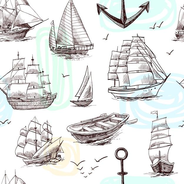 Voile grand navires frégates brigantine clipper yachts et bateau croquis seamless pattern vector illustration Vecteur gratuit