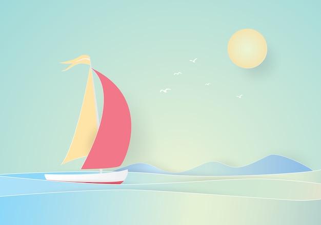 Voilier flottant dans la mer, papier découpé Vecteur Premium