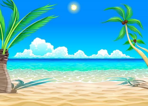 Voir sur la plage vector cartoon illustration Vecteur gratuit