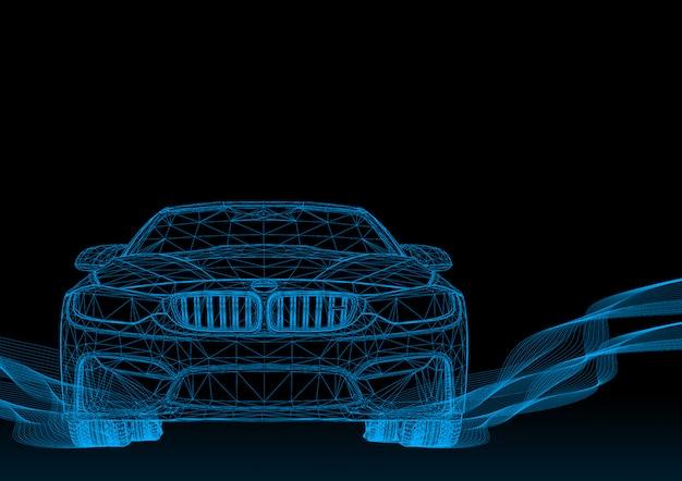 Voiture 3d avec des rayures bleues Vecteur Premium