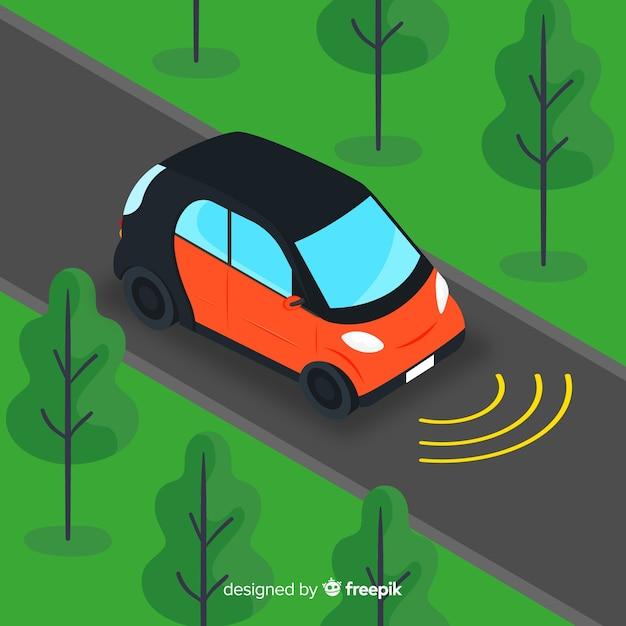 Voiture autonome au design plat Vecteur gratuit