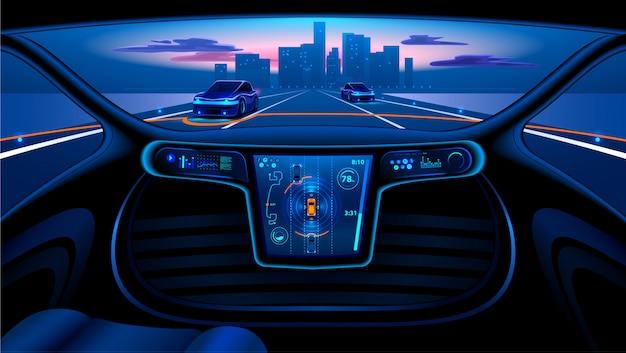 Voiture autonome dans la ville sur l'autoroute. l'écran affiche des informations Vecteur Premium
