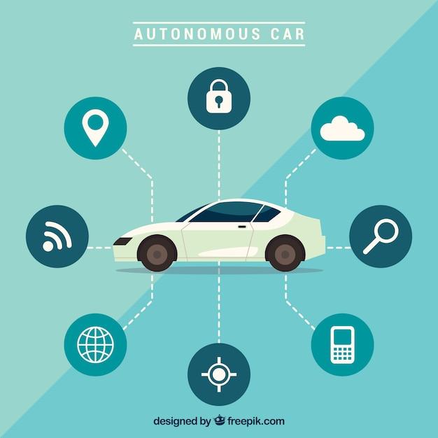 Voiture autonome futuriste avec un design plat Vecteur gratuit