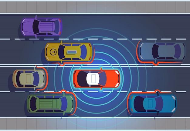 Voiture Autonome. Voitures Automobiles Technologie Futuriste à Distance Vue De Dessus Automobile Autonome Véhicule Intelligent Autonome Vecteur Premium