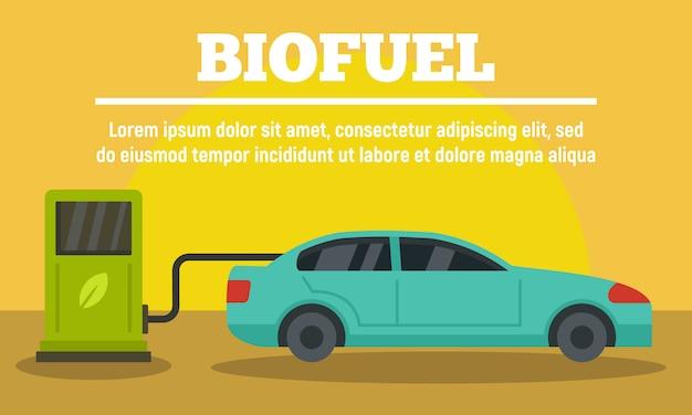 Voiture à la bannière de la station de biocarburants, style plat Vecteur Premium