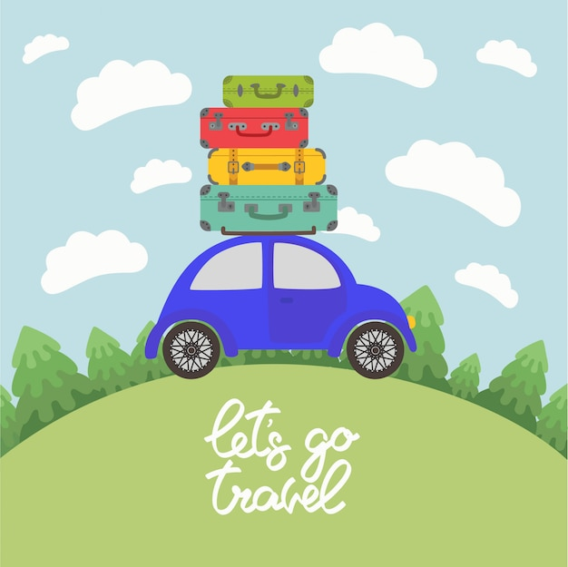 Voiture bleue avec bagages sur le toit pour de longues vacances sur la route Vecteur Premium