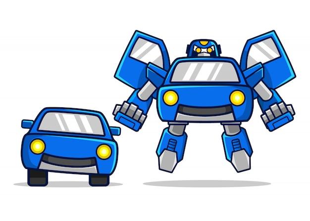 La Voiture Bleue Se Transforme En Personnage De Robot Vecteur Premium