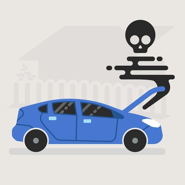 Une voiture brisée meurt sur la route avec une illustration de fumée noire. Vecteur Premium