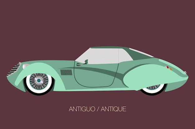Voiture classique antique, icône de voiture de vecteur, vue latérale de la voiture, automobile, véhicule automobile Vecteur Premium
