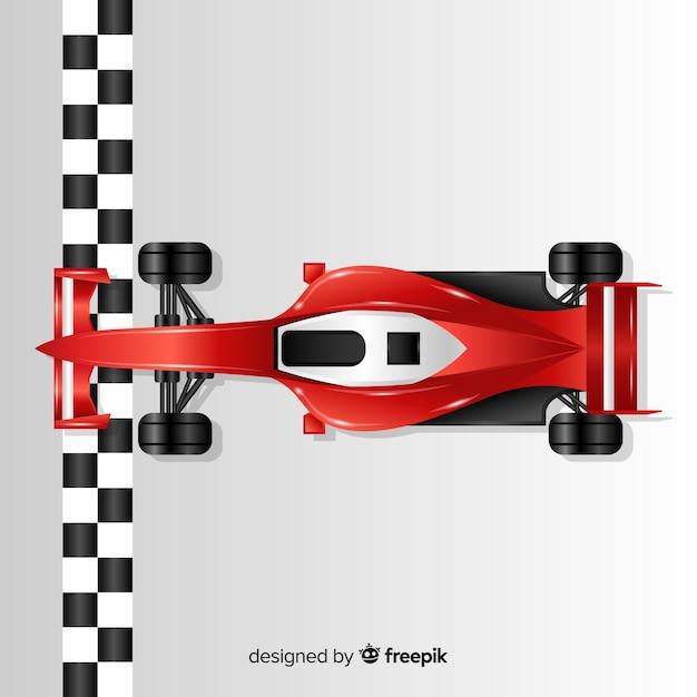 Voiture De Course F1 Rouge Brillant Traverse La Ligne D'arrivée Vecteur gratuit