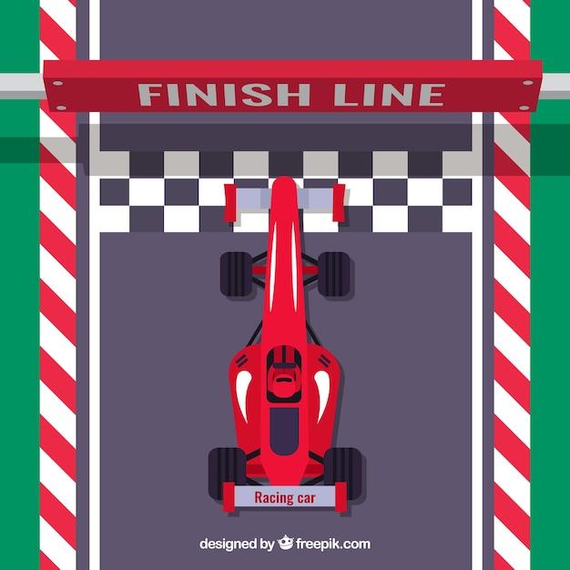 Voiture de course f1 rouge plat traverse la ligne d ...