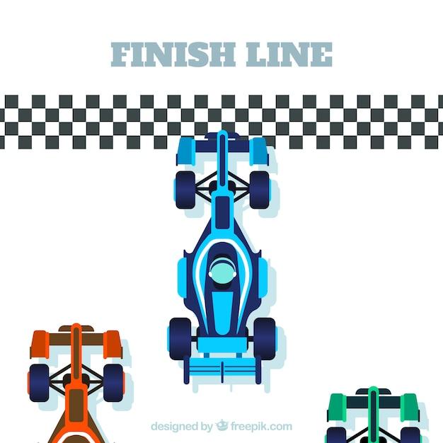 Voiture de course de formule 1 à la ligne d'arrivée avec un design plat Vecteur gratuit