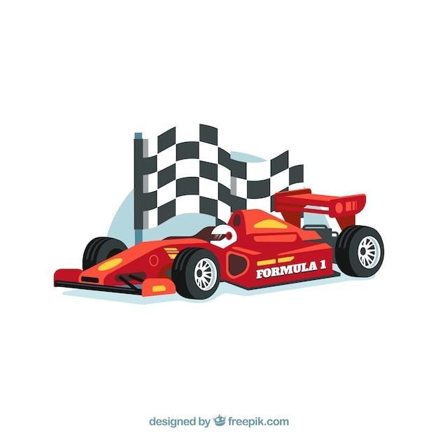 Voiture de course de formule 1 moderne au design réaliste Vecteur gratuit
