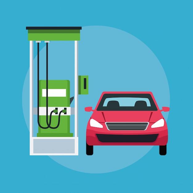 Voiture dans une icône de station d'essence Vecteur gratuit