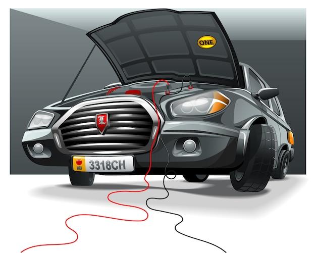 Voiture de dessin anim noir avec capot ouvert dans le for Garage automobile ouvert
