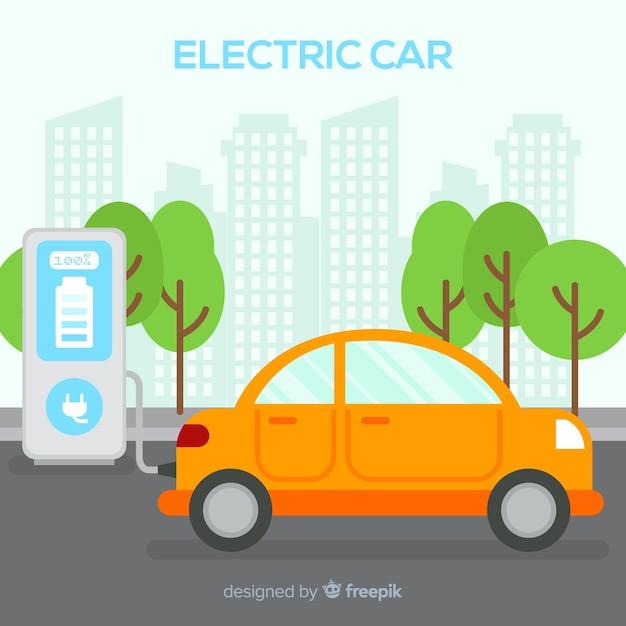 Voiture électrique Vecteur gratuit
