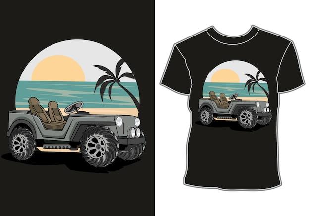 La Voiture Est Garée Sur Le Front De Mer Avec Vue Sur Le Coucher Du Soleil Et Les Cocotiers, La Conception De T-shirt Vecteur Premium