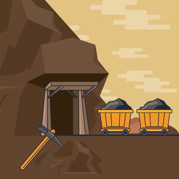 Voiture minière complète Vecteur Premium