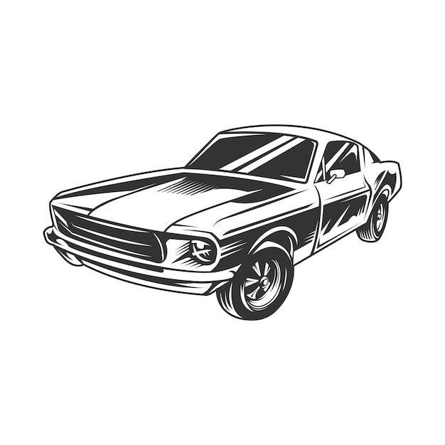 Voiture muscle vintage Vecteur Premium