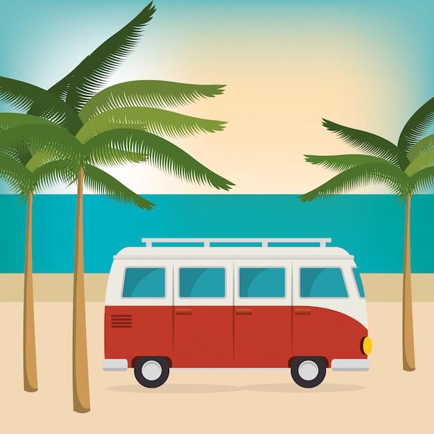 Voiture sur la plage vacances d'été Vecteur gratuit