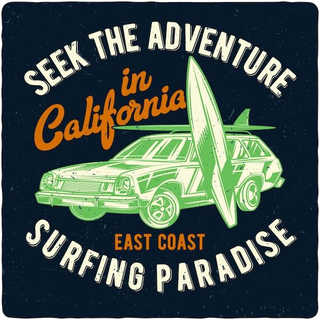 Voiture et planches de surf Vecteur Premium