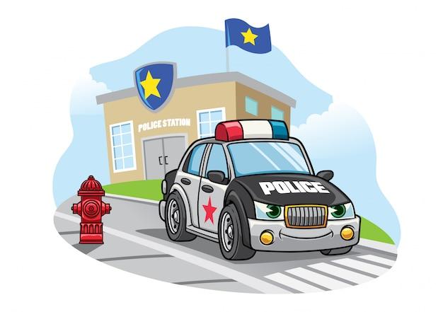 Voiture De Police De Dessin Anime Devant Le Bureau De Police