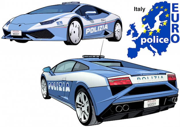 Voiture de police italienne Vecteur Premium