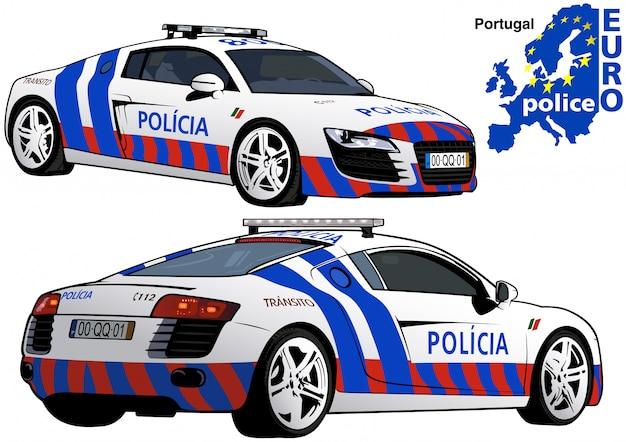 Voiture de police portugaise Vecteur Premium