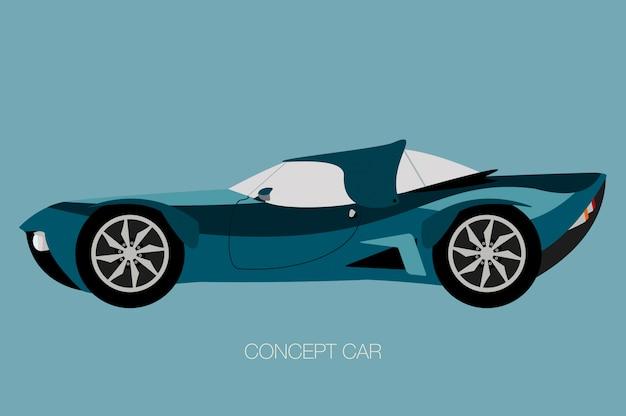 Voiture rétro futuriste, vue de côté de voiture, automobile, véhicule automobile Vecteur Premium