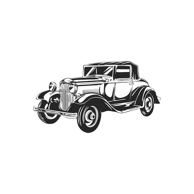 Voiture rétro vintage Vecteur Premium