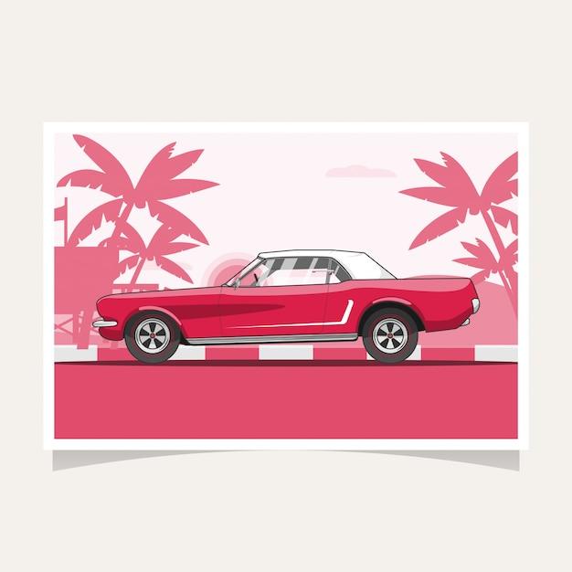 Voiture Rouge Classique Conceptuel Design Illustration Vectorielle Plate Vecteur Premium