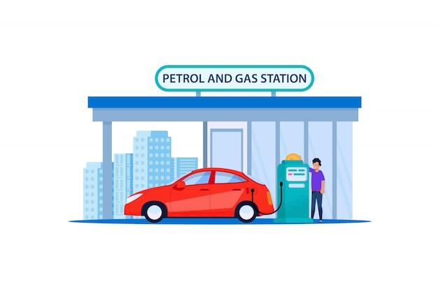 Voiture rouge sur l'essence et la station d'essence. recharger le service automobile du client en bordure de route urbaine. un homme ravitaillant en pétrole lors d'une promenade en véhicule à berline. illustration plate de puissance de carburant automobile. Vecteur Premium