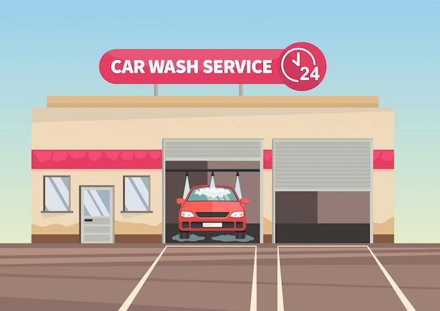 Voiture rouge sur l'illustration vectorielle de service de lavage de voiture. Vecteur Premium