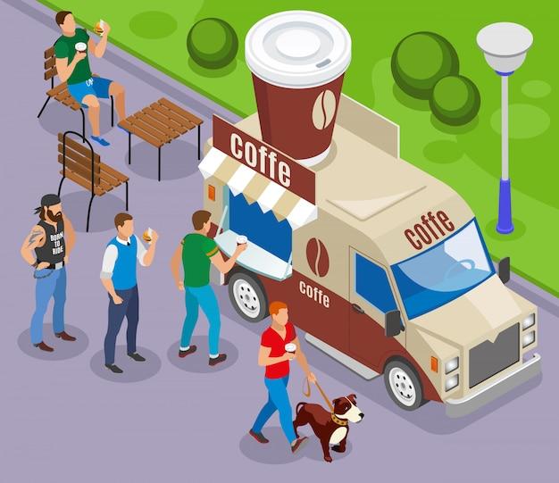 Voiture De Rue Avec Commerce De Composition Isométrique De Café Avec Des Clients En File D'attente Vecteur gratuit