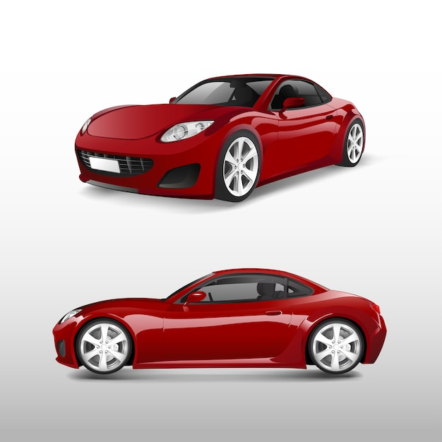 Voiture De Sport Rouge Isolée Sur Vecteur Blanc Vecteur gratuit