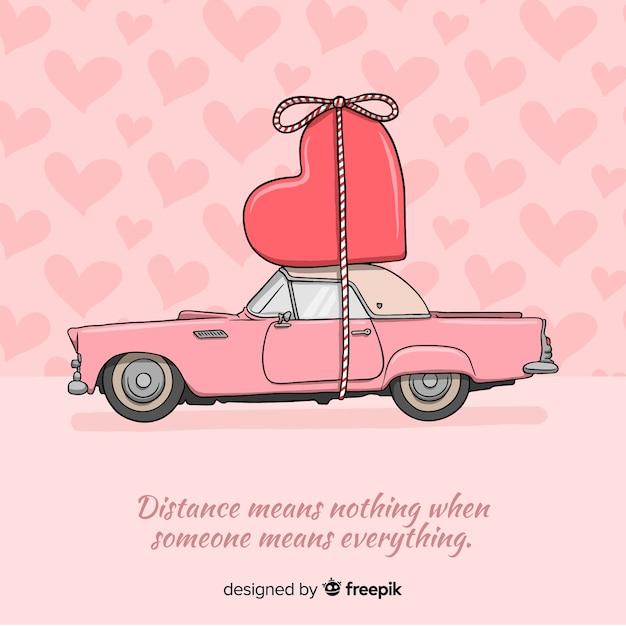 Voiture transportant coeur saint-valentin Vecteur gratuit