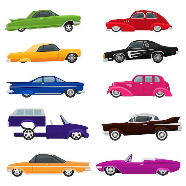 Voiture Vector Vintage Bas Cavalier Auto Et Rétro Vieux Jeu D'illustration De Transport Automobile Vecteur Premium